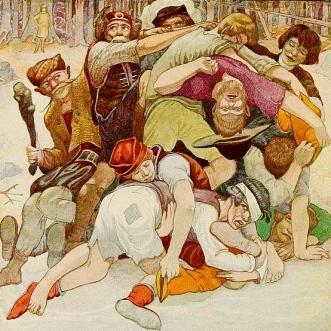 A pile of fighting men. (Polish Fairy Tales.Glinski:ill.Walton, 1920/Gutenbeerg.org/USPD:pub.date/Commons.wikimedia.org)
