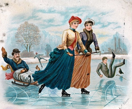 skaters. 1888 postcard by Ellam:NAt.Lib.Norway:Anne-Sophie Ofrim:Commons.wikimedia.org)