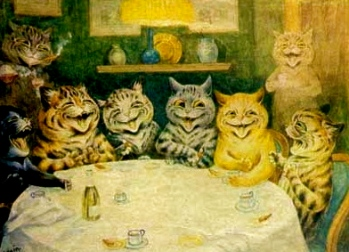 1870. Cats by Louis Wain (1860-1939).Neuroscience Art Gallery:USPD.Artist life, exp.cr:Commons.wimimedia.org)