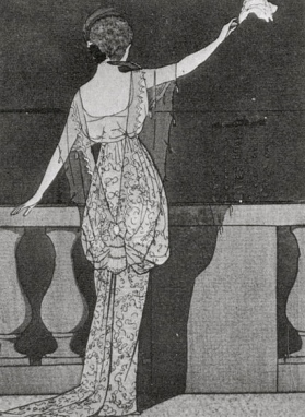 Woman standing on balcony. (1912.Evening gown by Jeanne Paquin/Concise History of Costume and Fashion/USPD: reprod of 2D PD art, pub.date/Commons,wikimedia.org)