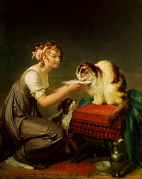 Cat's Lunch.19th century. M. Gerard.1761-1837/Musee Fragonard, grasse France/USPD:reprod of PD art, artist life/Commons.wikimedia.org)