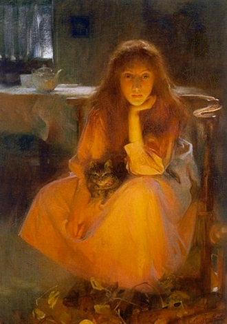 Seated woman with cat. Fire-fancies by Arthur Hacker.1858-1919/USPD:artist life, pub.date/Commons.wikimedia.org)