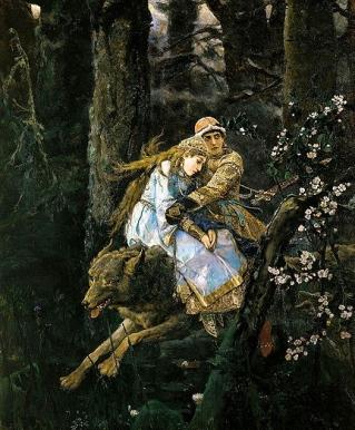 Ivan Zarevitch on the grey wolf.1889:Vasnetsov.1848-1926:Tretyakov Gallery, Moscow:USPD.artist life, pub.date:Common.wikimedia