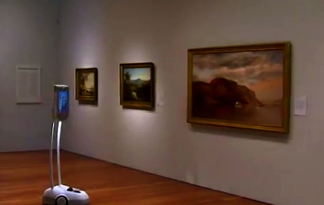 Lone Robot gazing at paintings in gallery.(screenshot CBS Sunday Morning Show.YouTube)