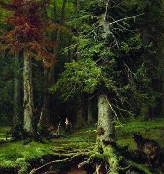 wolf in forest.1887/Klever.1850-1924/USPD:reprod of PD art,artist life/Commons.wikimedia.org