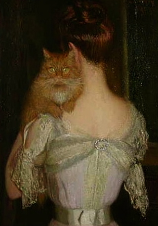 Woman with cat on shoulder. Lilla Cabot Perry.1848-1933/USPD:artist life, pub.date/Commons.wikimedia.org)