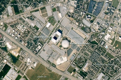 NRG and Astrodome. map. 2010:Astornaut photo by Expedition 25 crew/ USPD/Commons.wikimedia.org