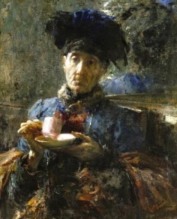 old woman drinking tea.1907. Mancini 1852-1930/USPD:artist life/Commons.wikimedia.org