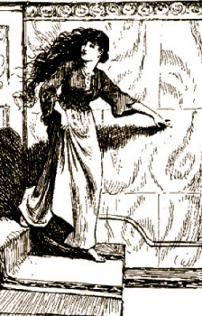 1889 Cinderella running down stairs. Blue Fairy Book/ill. G.P.Jacomb Hood/ed.Andre Lang/USPD.pub.date/Commons.wikimedia.org)