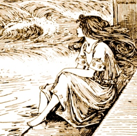 Woman looking at sea. 1899. Fairy Tales of Hans Christian Andersen.Stratton.Lippincott/NYLib./USPD.pub.date/Commons.wikimedia.org