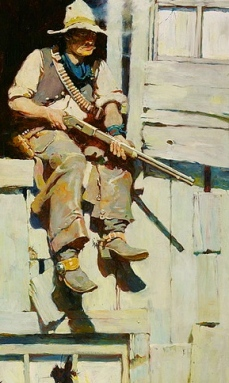 Old cowboy with rifle. 1905. Hopalong Takes Command. Schoonover story illustration/Outing Magazine.Delaware Art Museum/Commons..wikimedia.org)