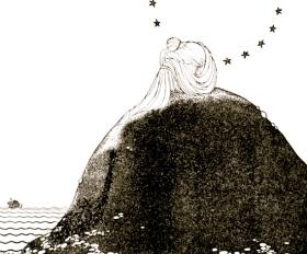 Woman on rock. 1921. Tanglewood Tales.Hawthorne/Sterrett/ NYLib./USPD.pub.date/Commons.wikimedia.org)