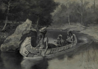 1890 illustration of Hiawatha's friends. Birchbark Canoe. By Frederic Remington for Song of Hiawatha by Longfellow./ Met.Museum/USPD.pub.date/Commons.wikimedia.org)