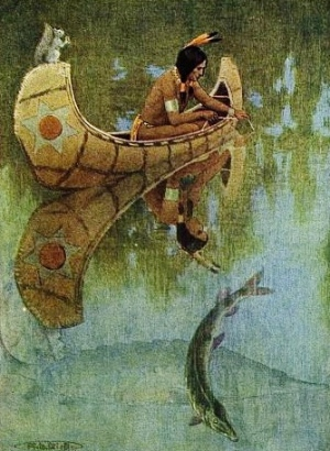 "1910 illustration of Hiawatha fishing in a birchbark canoe. Illustration from ""Take my bait O King of Fishes"" of  ""Story of Hiawatha"" adapted from Longfellow by William Stokes and Henry Wadsworth Longfellow. illustrator.Kirk (Gutenberg.org/USPD.pub.date, artist life/Commons.wikimedia.org)"