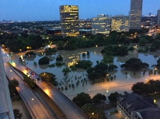 Another day. Another flood in Houston. This is Allen Parkway at Montrose.photo by Rachelle/The Bishop on Twitter/KHOU)