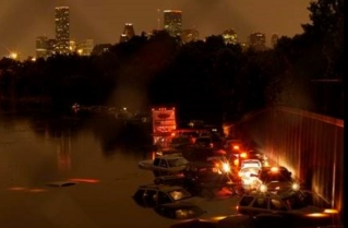FLooded Freeway in Houston. Downtown in background.( Scott Ellison/khou.com)