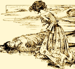 prince on beach with princess kneeling over him (fairy tale1899. Anderson's Fairy tales/Stratton/USPD.pub.date/Commons.wikimedia.org)
