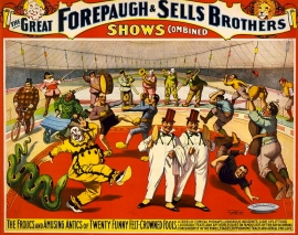 1899 circus poster/Strobridge Litho.Co./Loc/USPD.pub.date/Commons.wikimedia.org)