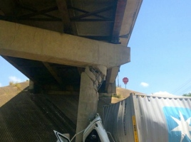 Big rig crashed into bridge I-10 at SH 36. (TXDOT photo)