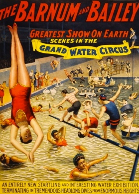 Poster of swimmers and divers of Grand water circus.1895 Strobridge Litho.Co./LoC/USPD.pub.date/Commons.wikimedia.org)