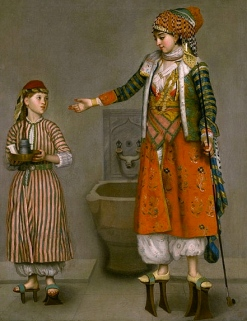Frankish Woman and Servant wearing tall platform shoes. (1750.Liotard/Nelson-Atkins Museum/USPD.pub.date/Commons.wikimedia.org)