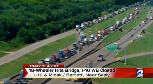 Traffic after truck hits bridge on I-10 near Sealy. (click2houston.com)