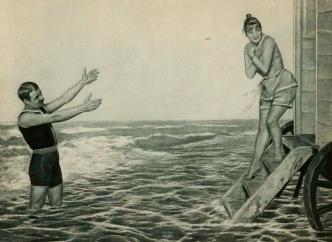 1888 couple in vintage bathing suits. Jan van Beers print/USPD.exp.cr/Commons.wikimedia.org)