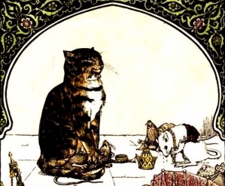 Cat with bowing mice.(1892.Indian fairy Tales/Batten/USPD.pub.date/Commons.wikimedia.org)