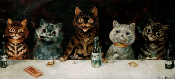 Rough looking male Cats at a bar counter.Louis Wain. The bachelor party.1939/USPD: artist life, reprod of PD art/Commons.wikimedia.org)