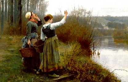 "two women. ""Hailing the Ferry"" painting by Knight(1839-1924)/US Public domain image, expired copyright, artist+70 yrs/commons.wikimedia.org)"