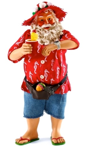 Santa on summer vacation checking his watch. (Screenshot Christmas Treasures.com)