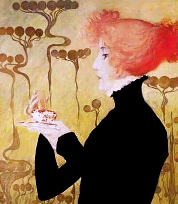 woman with cup.(1895 Sarah Bernhart lithograph/US PD.pub.date, photo reprod of PD art/Commons.wikimedia.org)