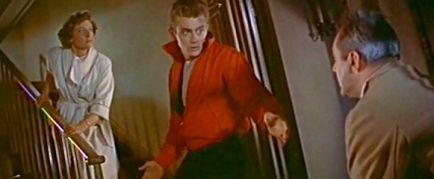 1955. James Dean on staircase from Rebel Without a Cause trailer screenshot/USPD.pub.date/Commons.wikimedia.org)