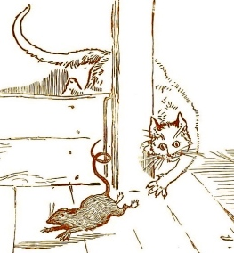 Barn cat chasing rat. (House that Jack Built.R.Caldecott/USPD.author and artist life+100/Commons.wikimedia.org)