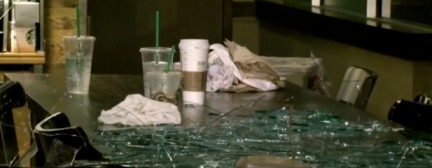 glass on table at Starbucks (screenshot click2newshouston.com)