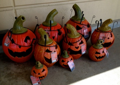 Collection of metal Halloween pumpkins for holiday decorating. (All rights reserved. copy righted. no permissions granted