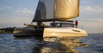 Rainmaker when new and sailing with speed and joy.(Rainmaker promotional photo / Gunboat website)