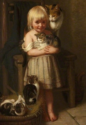 small girl with pets ((1874.Edith Emmerson. (USPD.reprod of PD art, artist life/Commons.wikimedia.org)