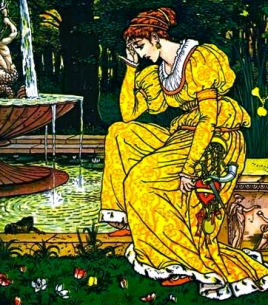 Princess talking with frog in fountain. ( 1874. The Frog Prince.Walter Crane:USPD.pub.date:Project Gutenberg:Commons.wikimedia.org