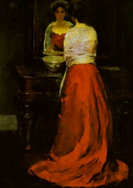 1910 Lady in red standing in front to mirror. Painted by C.W.Hawthorne.1872-1930/USPD:pub.date, artist life/Commons.wikimedia.org)