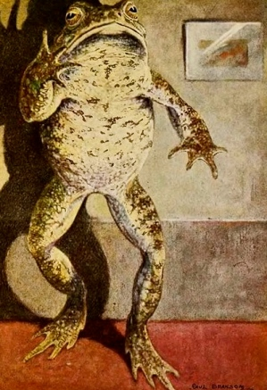 1913. Toad standing. Dwelling chiefly on his own cleverness, and presence of mind in emergencies. Paul Bransom/USPD.pub.date/Commons.wikimedia.org)