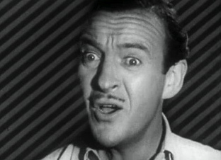 Horrified man.(1951. David Niven in The Lady Says No. Film by Frank Ross/ USPD.pub.date/Commons.wikimedia.org)