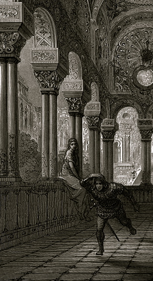 Castle hallway. Gustave Dore/USPD:reprod of PD art,exp.cr,artist life+70/Commons.wikimedia.org)
