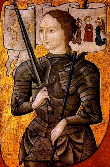 Joan of Arc in armour holding sword.(created 1450-1500?) Archives nationales/USPD: reprod of PD art, artist life/Commons.Wikimedia.org)