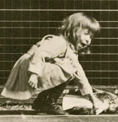 small girl picking up something on ground. 1884:1886.Muybridge (1830-1904) Animal locomotion- consecutive movements/Univ.of Penn/USPD: pub.date/Commons.wikimedia.org)