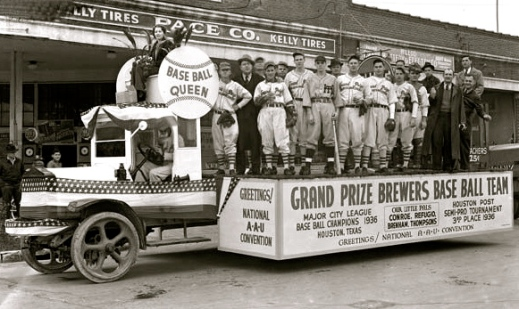 A parade float for the 1936 AAU Convention here. Love that Base Ball Queen on her throne (Screenshot. abc13.com)