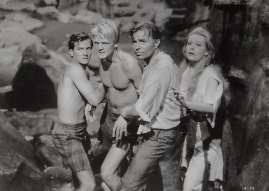 Bedraggled group of people. (1959 film. Journey to the Center of the Earth. Warner Bros-Seven Arts/USPD: Pub.date, no cr/Commons.wikimedia.org)