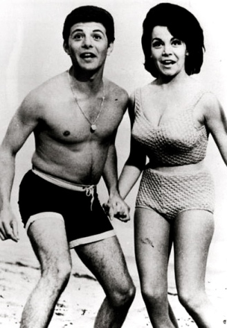 "1977. Frankie Avalon and Annette Funicello pub.picture for ""Beach Party"" film. news clipping/USPD: pub.date/Commons.wikimedia.org"