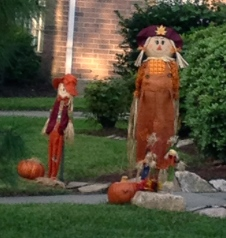 A family of fall scarecrows (NO permissions granted) as yard decorations. ALL rights reserved. Copy righted