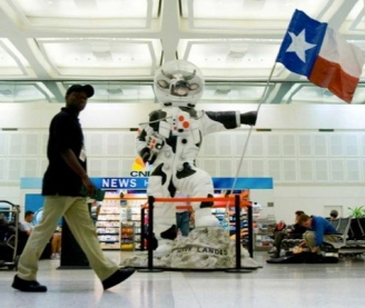 Moonwalking Cow from Cow Parade. Once located in Terminal Terminal A Bush IAH/ Screenshot of image by Campbell, Hou.Chron.)